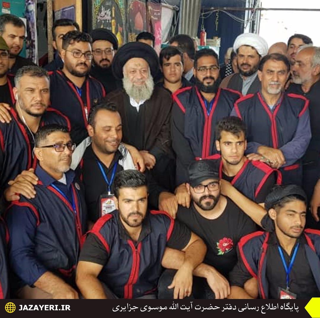 بازدیدآیت الله موسوی جزایری از مرز شلمچه ، مواکب مستقر و دیدار با خدام زائرین اربعین